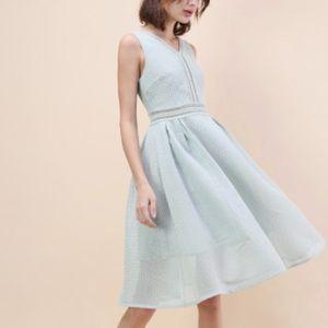 Chicwish Airy Fresh Eyelet Mesh Sleeveles Dress in